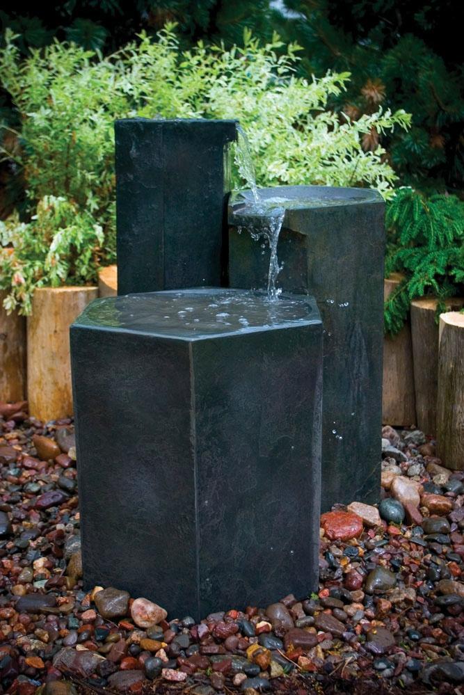 Formal Basalt Column Set Fountain Fountain Fiberglass