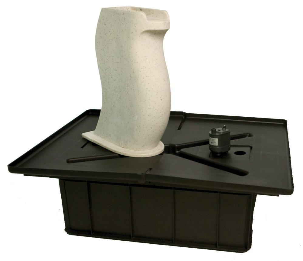 White Granite Modern Curved Fountain Kit Fountain Kit