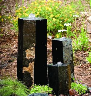 Set of Three Semi-Polished Stone Basalt Columns