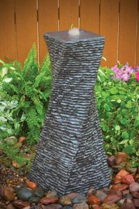 Cascading Twisted Stone Water Column Fountain