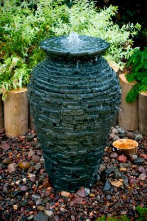 Small Stacked Slate Urn fountain