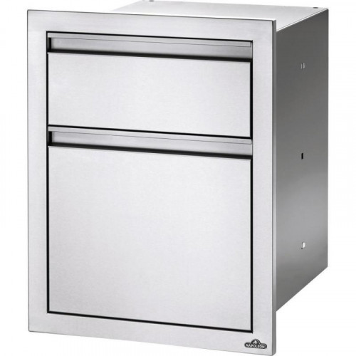 Napoleon 18-Inch Stainless Steel Double Waste Bin Drawer With Paper Towel Holder