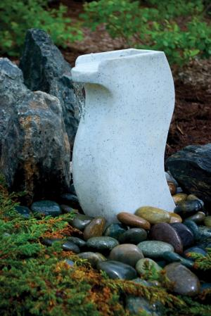 White Granite Modern Curved Fountain